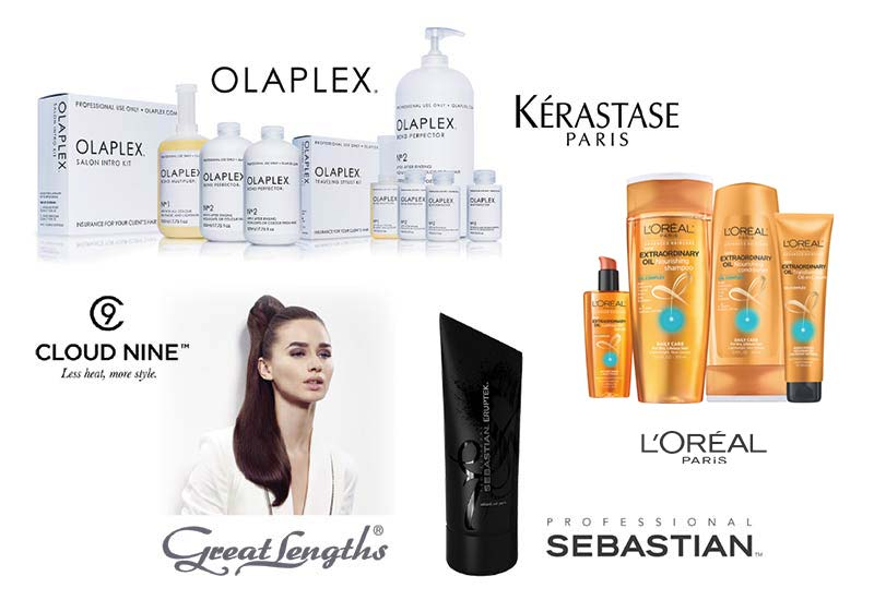 salon brands Olaplex, Kerastase, Cloud Nine, L'Oreal Professional, Great Lengths, Sebastian Professional